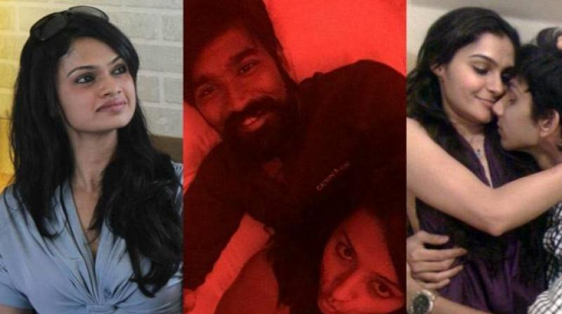 Suchitra Karthik (L), Dhanush with Trisha (Centre) and Anirudh with Andrea.