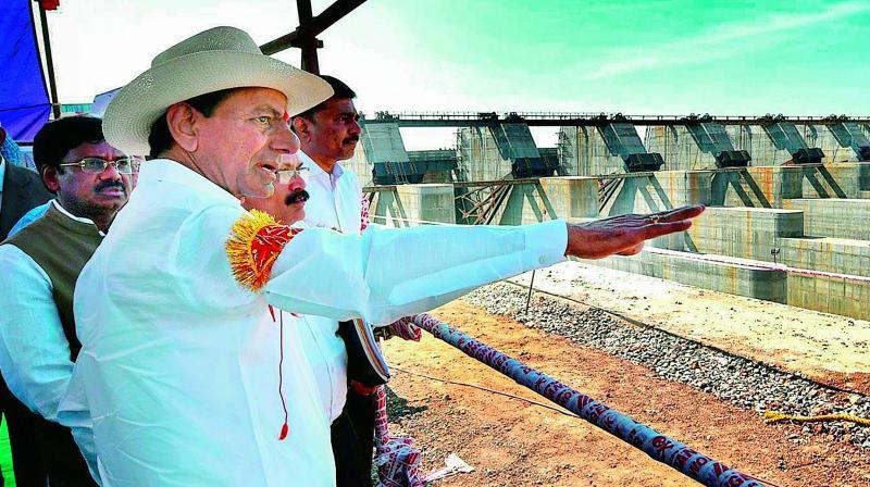 Chief Minister K. Chandrashekar Rao at Kaleshwaram Lift Irrigation project on the Godavari river.
