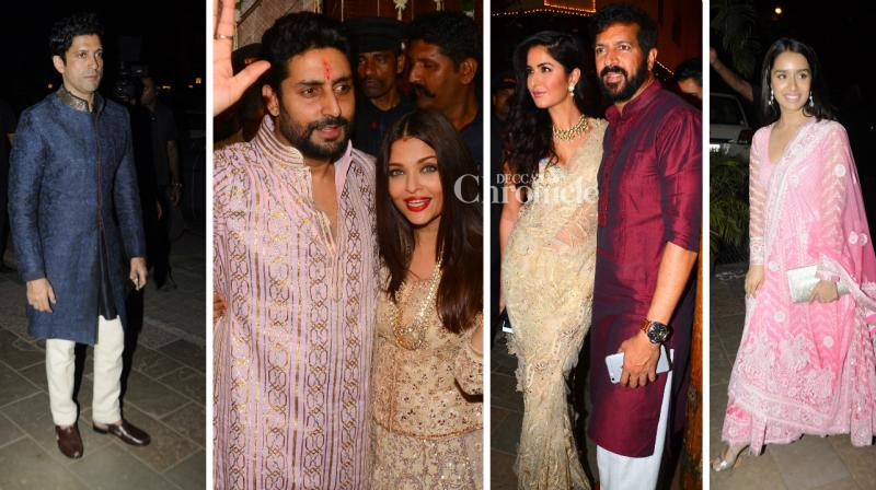 Several celebrities from the entertainment industry arrived in style for the Diwali bash at Amitabh Bachchan's residence on Sunday night. (Photo: Viral Bhayani)