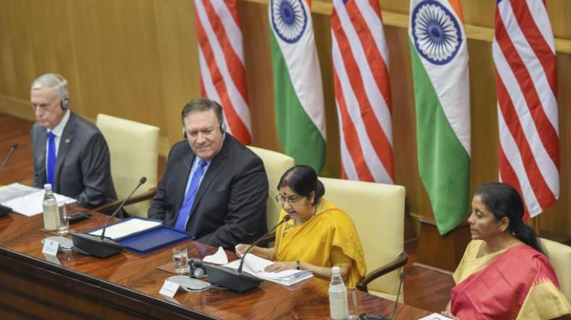 External Affairs Minister Sushma Swaraj, Defence Minister Nirmala Sitharaman, US Secretary of State Mike Pompeo and US Secretary of Defense James Mattis at a joint press conference after the India-US 2 + 2 Dialogue in New Delhi. (Photo: PTI)