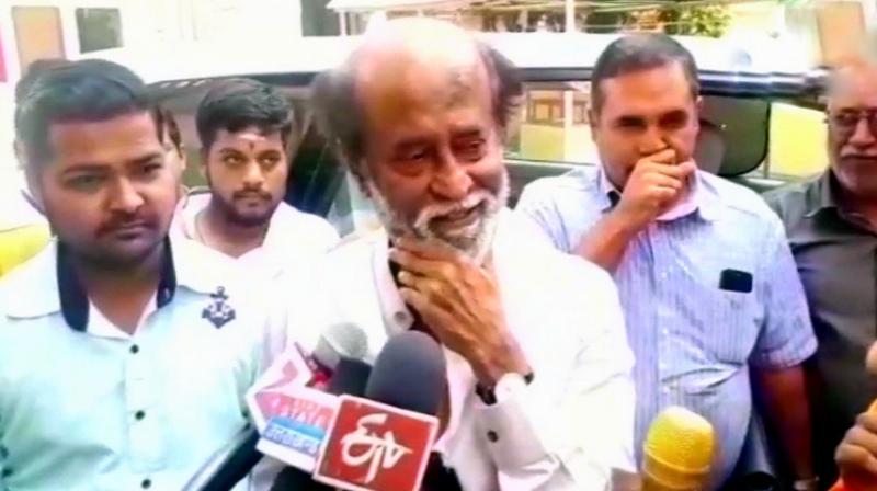 Speaking to reporters at the Dayanand Saraswati Ashram in Rishikesh, Uttarakhand, Rajinikanth said, 'I have not announced my party. I don't want to talk anything about politics (now)... Still I have not become a full-time politician.' (Photo: Twitter | ANI)