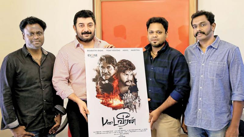 Arvind Swami with the crew of Padai Veeran