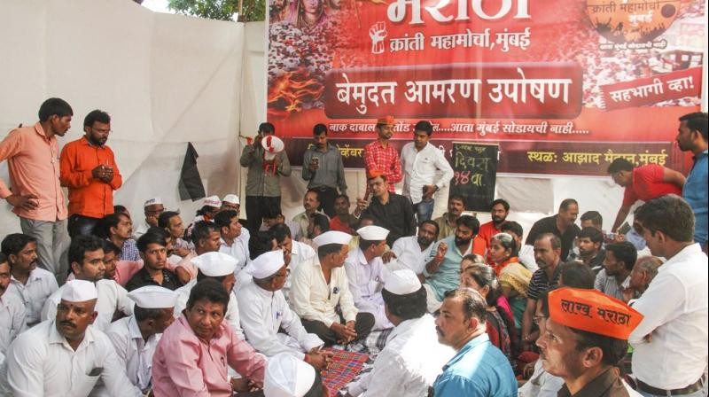 The Maratha community, which comprises over 30 per cent of the state's population, has been seeking reservation in government jobs and education for a long time. (Photo: PTI)