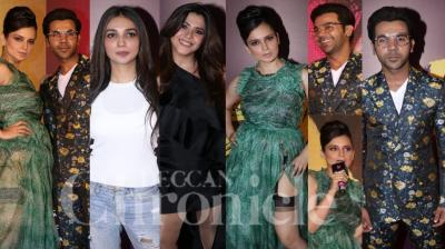 On Sunday, swagger Kangana Ranaut alongside powerhouse of talent Rajkummar Rao launched first song Wakhra from their upcoming film, Judgementall Hai Kya. The actors set the event on fire. (Photos: Viral Bhayani)