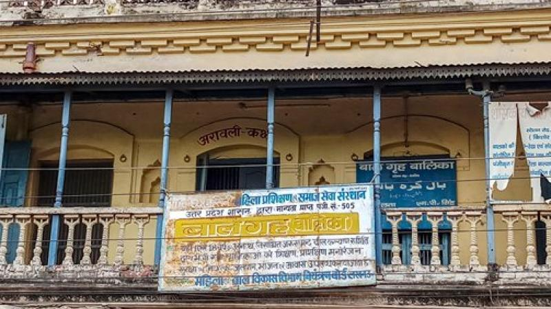 A view of the shelter home from where girls were rescued after allegation of sexual exploitation of the inmates came to light, prompting the Uttar Pradesh government to swing into a damage control mode by removing the district magistrate and ordering a high-level probe, in Deoria. (Photo: PTI)