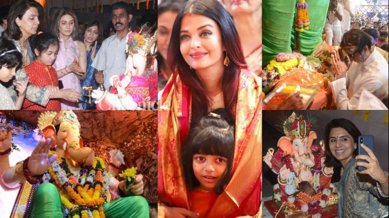 B-Town stars sought blessings from Lord Ganesha by praying to various idols in Mumbai on Sunday and Monday. (Photos: Viral Bhayani/ Twitter/Instagram)