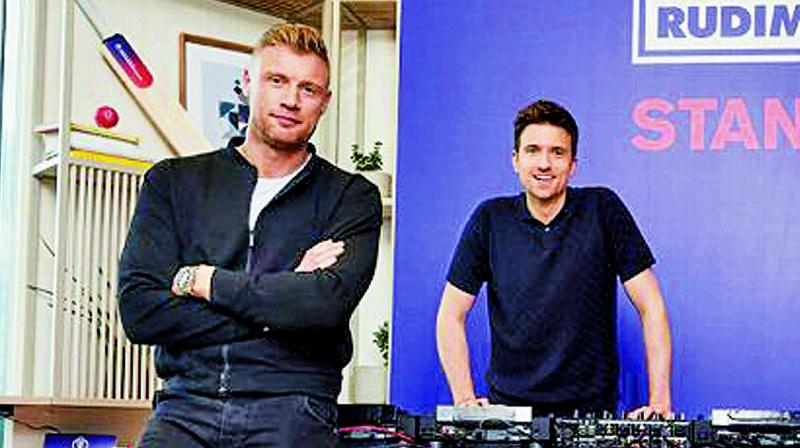 Andrew Flintoff (left) and Greg James at launch of the World Cup song.