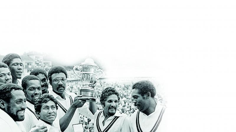 West Indies celebrate their 1979 World Cup triumph.