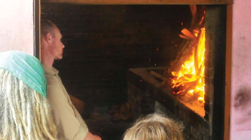 Partner of Latvian tourist Andrew Jordan during the cremation.