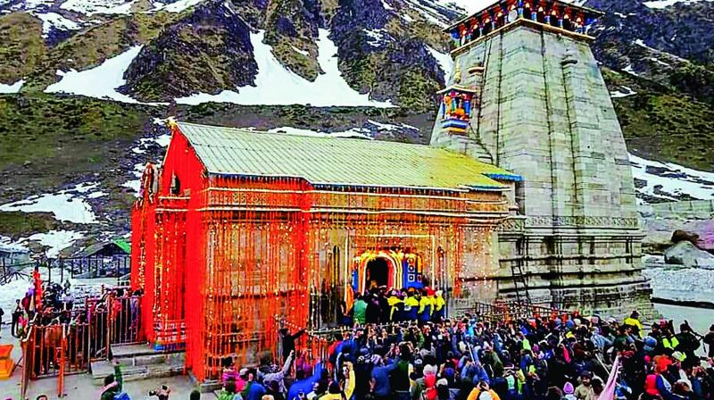 Pilgrims visiting Kedarnath temple.