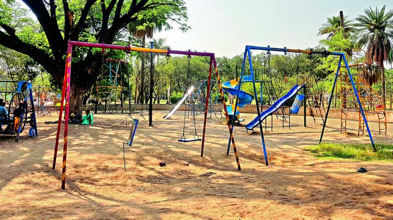 Swing sets at Indira Park and a slide ladder at the Chacha Nehru Park are in a bad shape.