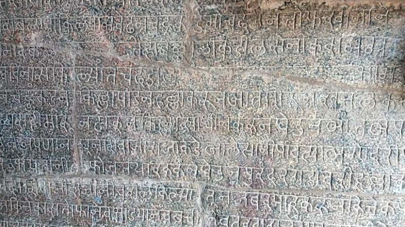 Inscription in Devanagari script at Big temple at Thanjavur.(Photo: DC)