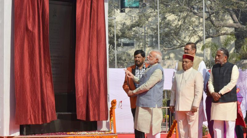 The Prime Minister Narendra Modi also unveiled two statues of the Dalit icon at the centre in Janpath. (Photo: PTI)