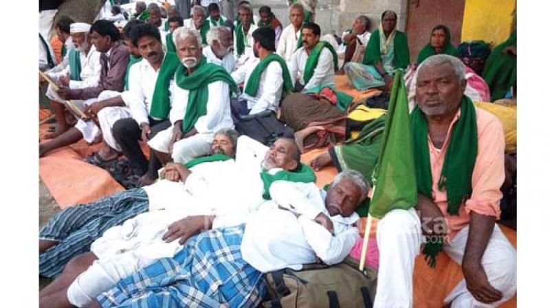 File picture of farmers on protest on the Mahadayi issue