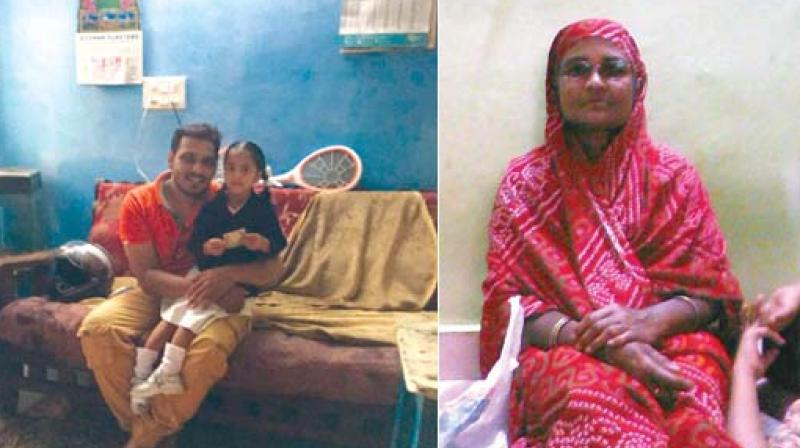 (Left) Firoz with the auto-driver's daughter and (Right) Badrunissa