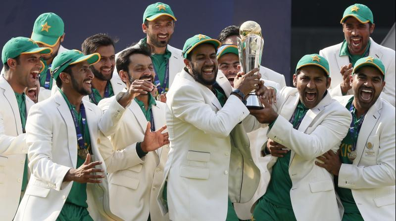Pakistan won their first 50-over ICC trophy since their 1992 World Cup triumph, beating India by 180 runs. (Photo: AP)
