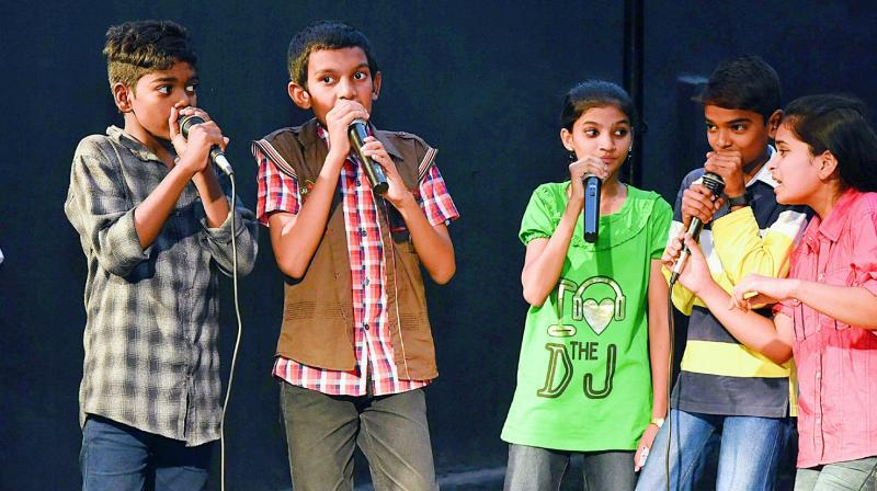 Camp Diaries students showcasing their talent on stage at an event that was organised at Lamakaan recently.