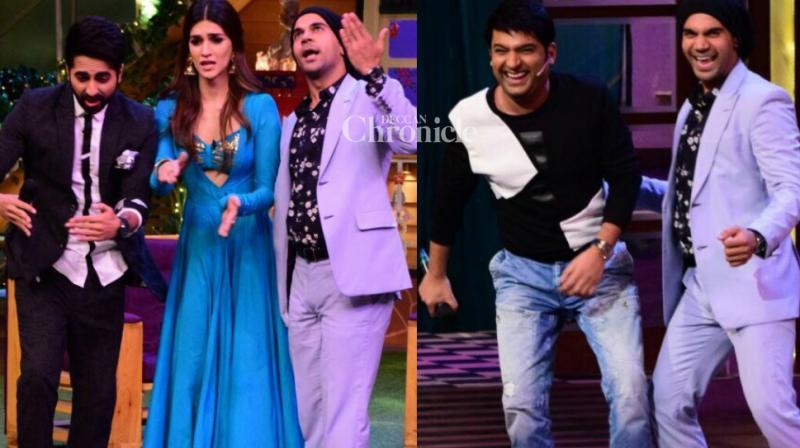 'Bareilly Ki Barfi' trio Kriti Sanon, Ayushmann Khurrana and Rajkummar Rao shot for a fun-filled episode for Kapil Sharma's comedy show in Mumbai on Wednesday. (Photo: Viral Bhayani)