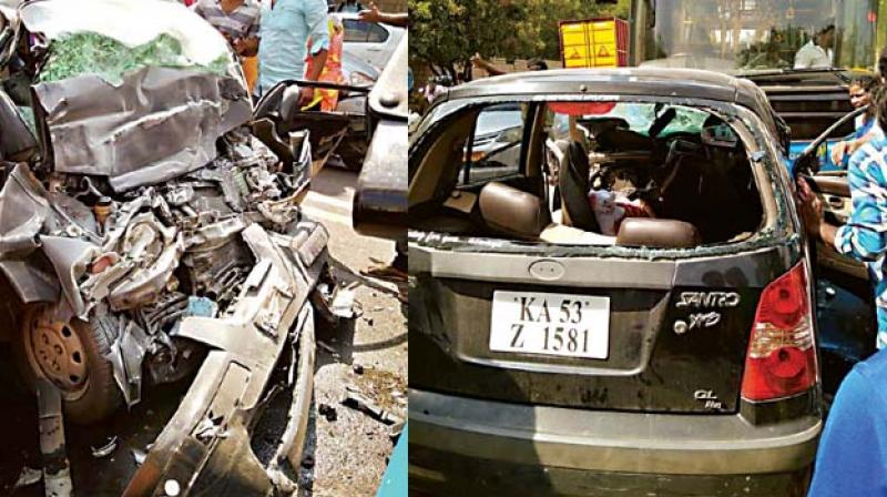 A BMTC bus and a car collided on the Old Airport Road on Wednesday. (Right) The badly mangled car (Image DC)