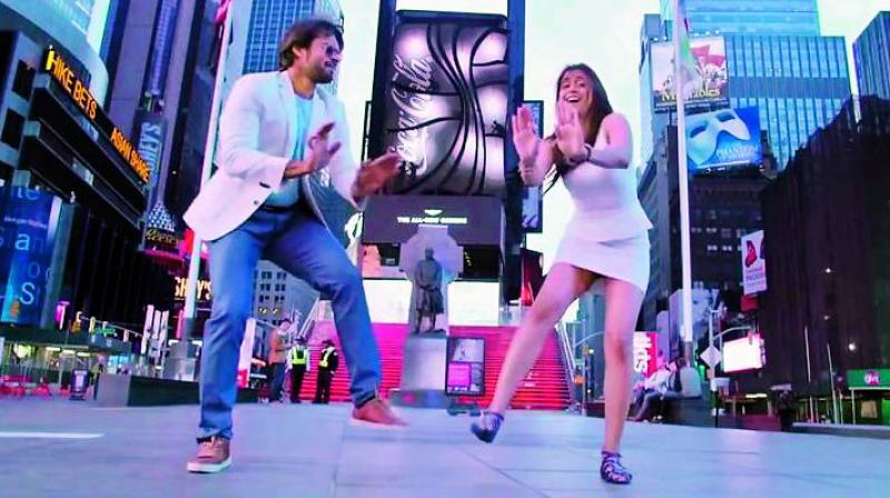 A still from Subramanyam for Sale, shot at Times Square in New York.