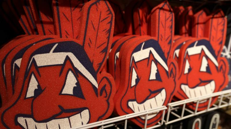 foam images of the MLB baseball Cleveland Indians' mascot Chief Wahoo are displayed for sale at the Indians' team shop in Cleveland. The Chief Wahoo logo is being removed from the Cleveland Indians' uniform in the 2019 season, but the Club will still sell merchandise featuring the mascot. (Photo: AP)