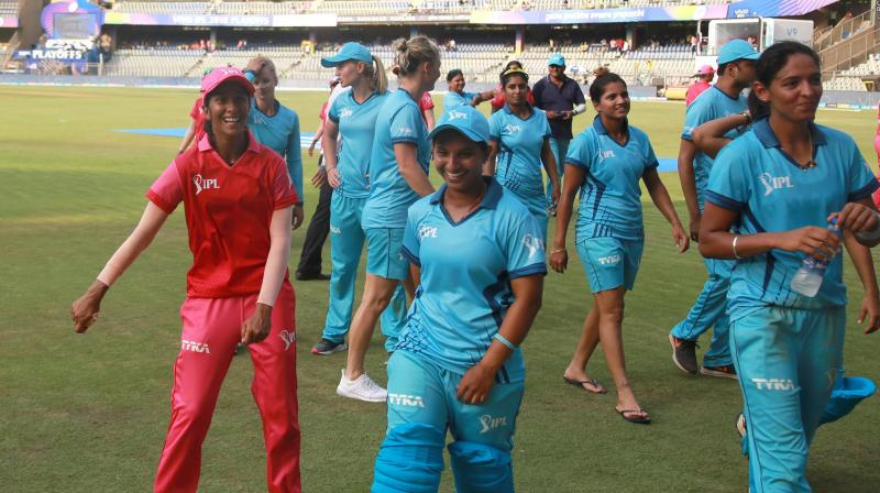 Harmanpreet Kaur-led Supernovas (Blue) edged out Trailblazers (Red) in a final over thriller. (Photo: BCCI)