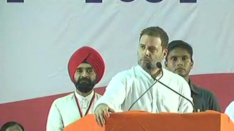Congress president Rahul Gandhi said, 'Nirav Modi and Mehul Choksi ran away with Rs 35,000 crore, Vijay Mallya took off with Rs 9,000 crore and even Lalit Modi decamped... But he says nothing... He will also run away.' (Photo: ANI | Twitter)