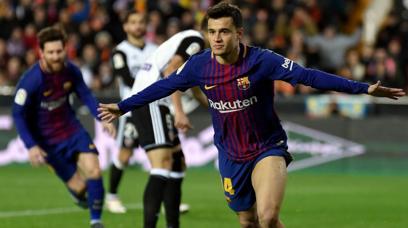 The Brazil midfielder travelled with Barca to their opening La Liga game of the season against Athletic Bilbao but was left out of the matchday squad. (Photo: AFP)