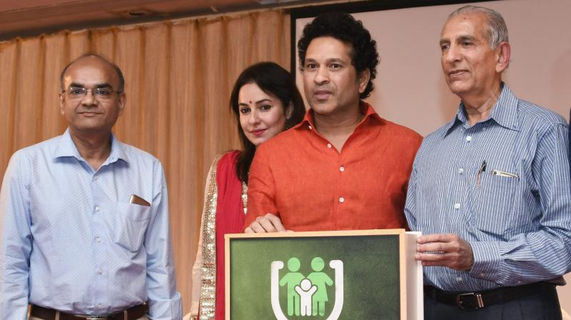 Sachin Tendulkar during the release of a book on child health-care for parent. (Photo: PTI)