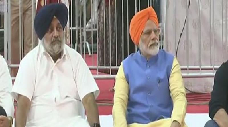 Also present at Dera Baba Nanak were BJP lawmaker from Gurdaspur, Sunny Deol, Union Minister Hardeep Puri and Shiromani Akali Dal's Sukhbir Badal. (Photo: ANI)