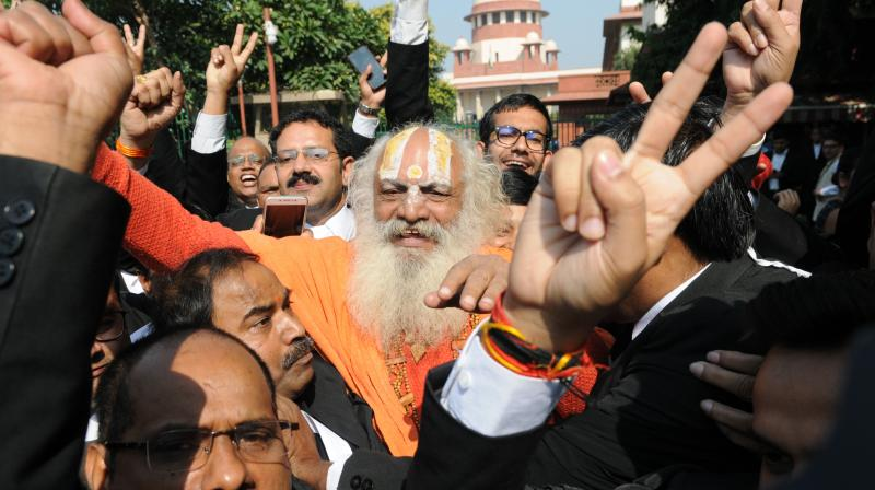 Soon after Supreme Court pronounced its historic verdict in the decades-old Ayodhya title dispute; several hashtags like 'HinduMuslimBhaiBhai' and 'AyodhyaVerdict' were seen among the top trends on Twitter in India and worldwide on Saturday. (Photo: Biplab Banerjee)