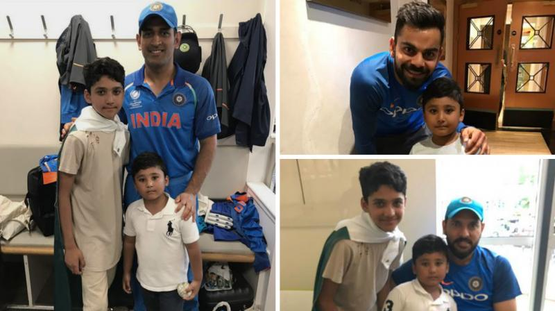 In a great show of humanitarianism, Virat Kohli, MS Dhoni and Yuvraj Singh were seen posing for pictures with Azhar Ali's sons. (Photo: Azhar Ali/ Twitter)
