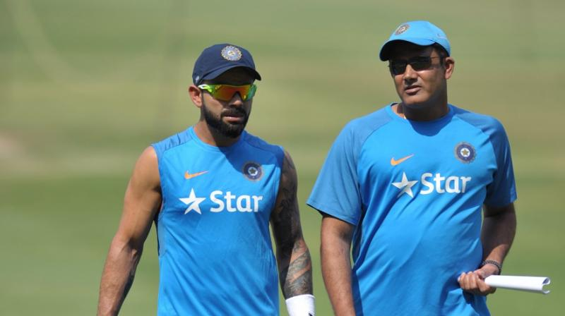 Virat Kohli and Anil Kumble enjoyed a successful captain-coach partnership, with India having a 70.59 per cent win percentage in Test cricket under them. (Photo: AFP)