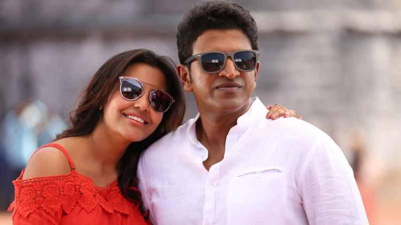 Puneeth Rajkumar and Priya Anand in 'Raajakumara.'
