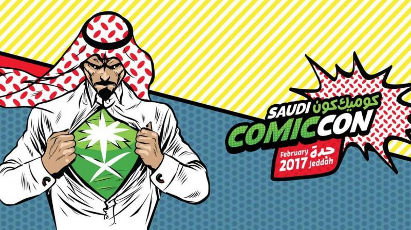 The logo of the Saudi Comic Con features a man ripping open his thawb to reveal his superhero alter ego.