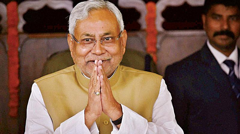 Hours after resigning from the chief ministerial post, Nitish Kumar again took oath as CM on Thursday with support of BJP. (Photo: PTI/File)