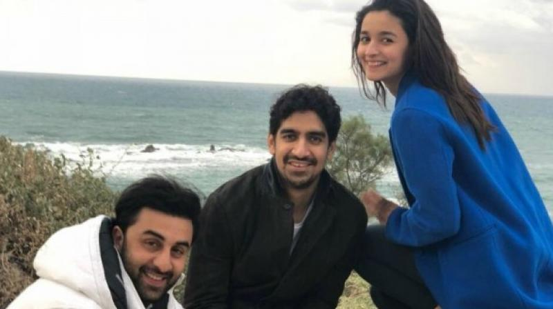 Ranbir Kapoor, Ayan Mukerji and Alia Bhatt pose during shooting for 'Brahmastra'.