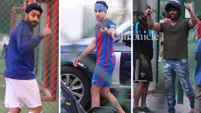 Ranbir Kapoor, Abhishek Bachchan and John Abraham were snapped as they stepped out for a game of football on Sunday. (Photo: Viral Bhayani)