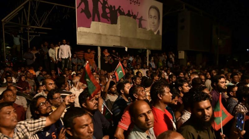 The island nation, which has seen several political crises since the ouster of its first democratically-elected president Mohamed Nasheed in 2012, plunged into chaos on Thursday when the apex court ordered the release of nine imprisoned opposition politicians. (Photo: AFP)