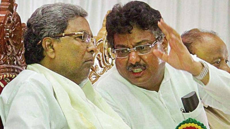 A file photo of Minister M.B. Patil with CM Siddaramaiah