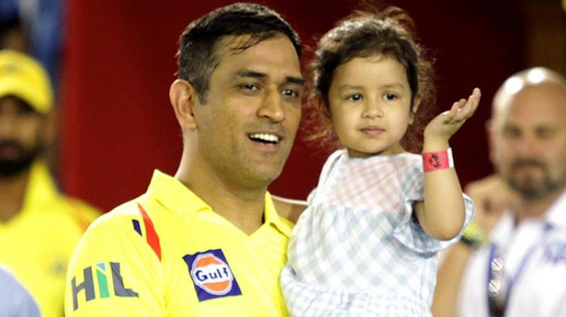 Dhoni and his daughter Ziva share a very bonding with each other, as both of them love spending quality with each other whenever he is not playing cricket. (Photo: BCCI)