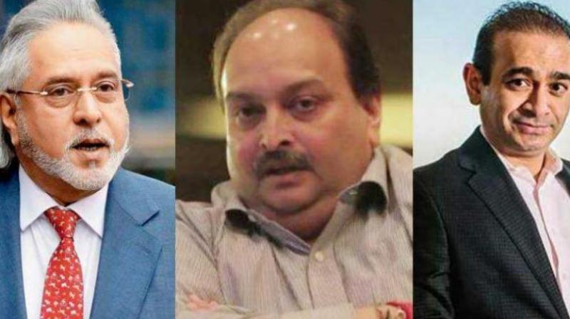 (From left) Embattled liquor baron Vijay Mallya, Gitanjali Group owner Mehul Choksi, absconding billionaire Nirav Modi. (Photo: PTI)