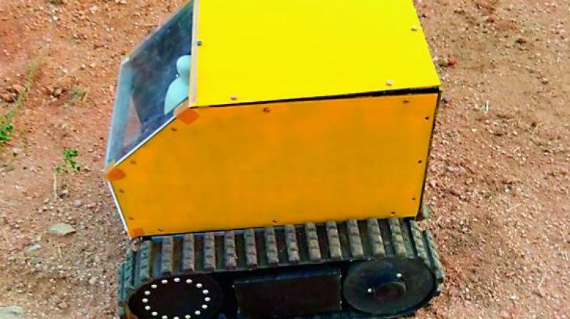 The surveillance robotic vehicle.