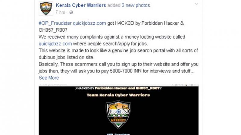 A grab from the FB page of Kerala Cyber Warriors.