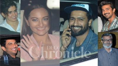 Amidst heavy rains in Mumbai, the makers of 'Chhichhore' arranged a special screening for Bollywood celebrities on Wednesday night in Mumbai. Stars like Vicky Kaushal, Sonakshi Sinha, Sanya Malhotra, Fatima Sana Shaikh, Saqeeb Saleem, Zaheer Iqbal, Aayush Sharma and others attended the screeening of Shraddha Kapoor and Sushant Singh Rajput starrer. (Photos: Viral Bhayani)