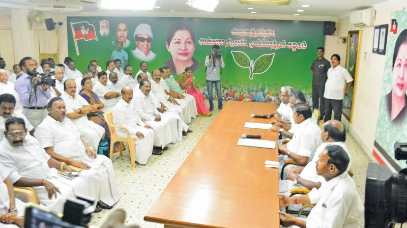 AIADMK joint coordinator and Chief Minister Edappadi K. Palaniswami and party coordinator and Deputy Chief Minister O. Panneerselvam chair a high-level meeting of party's district secretaries in the city on Monday in view of the by-poll to the four Assembly constituencies (Photo: DC)