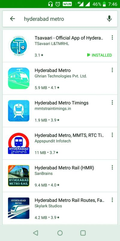 A screenshot shows some of the Metro apps available on  playstore.  T-savaari is the only authentic app provided by L&THMRL.