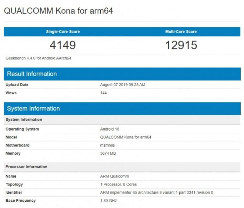 Qualcomm Snapdragon 865 geekbench