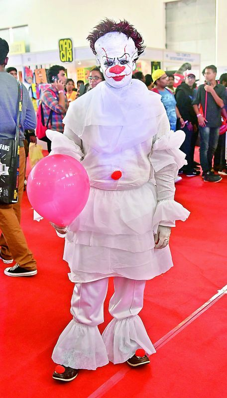 Shubham dressed as Pennywise from IT