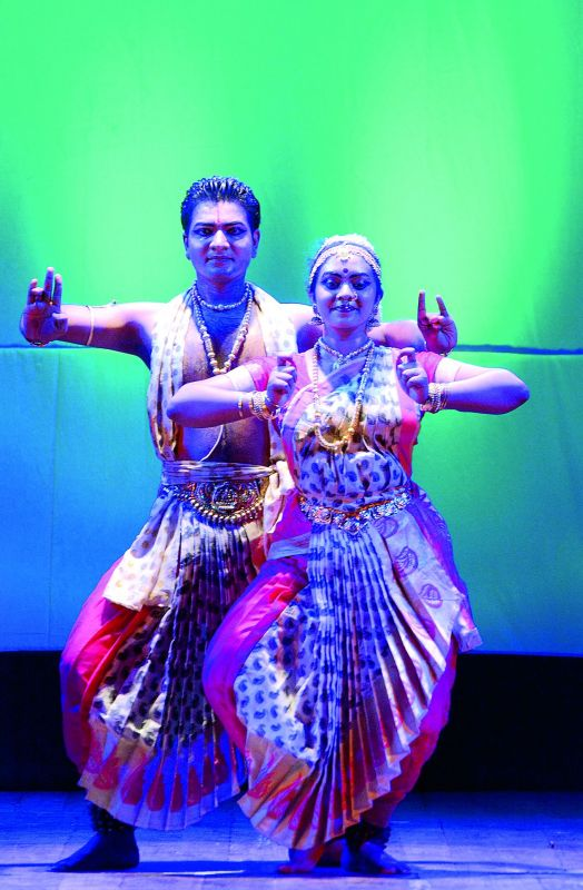 Pramod Kumar with one of his troupe members.